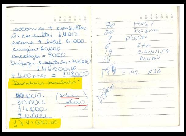 Anotações mostram dinheiro recebido por Queiroz para pagar hospital