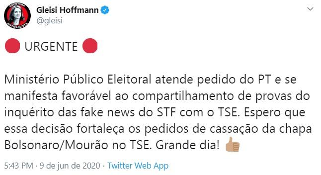 """""""Grande dia"""": Gleisi comemora parecer do MPE em ação que pode cassar Bolsonaro"""