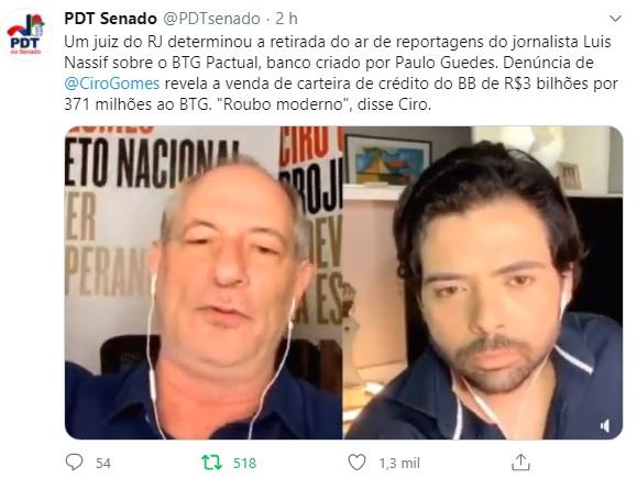 """Ciro Gomes sobre compra de títulos do BTG: """"Sabe quantas vezes na história o BB fez isso? Nunca"""""""