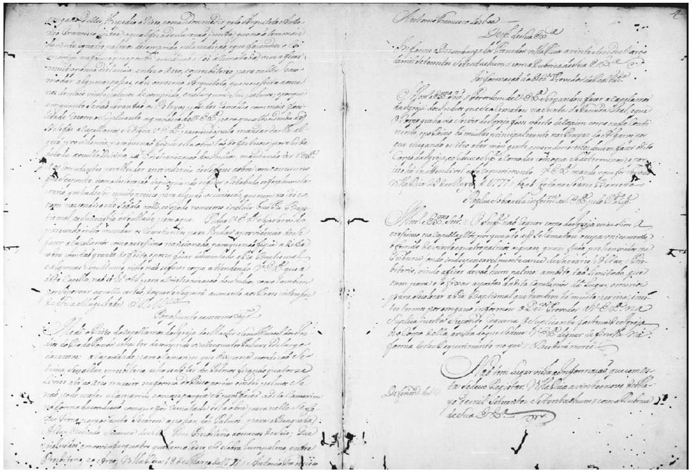 Documento da medição do risco da capela-mor de Rio Pomba por Aleijadinho (1771) – Fonte: APM