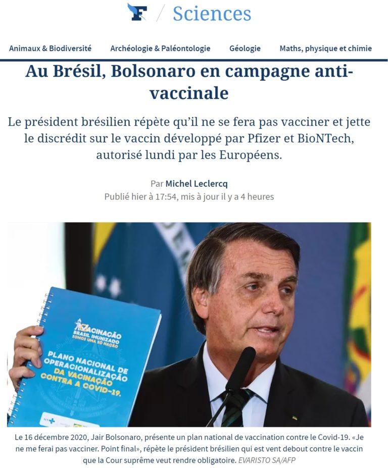 """Le Figaro diz que campanha antivacina de Bolsonaro é """"única nas democracias"""""""