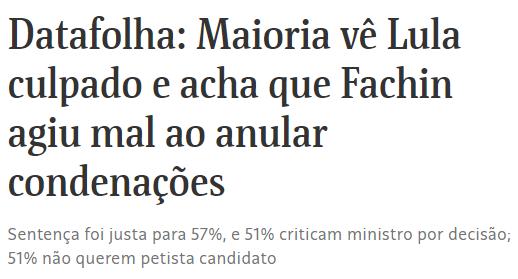 Pesquisa Datafolha sobre condenação de Lula gera críticas nas redes