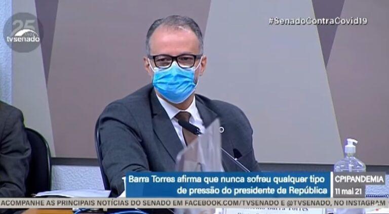 CPI: Barra Torres implica Nise Yamagushi e Braga Netto, se arrepende de aglomeração e critica Bolsonaro