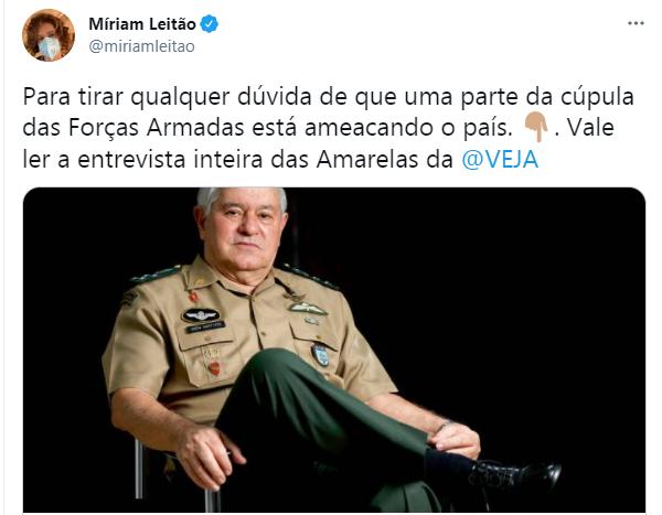 Míriam Leitão afirma que parte das Forças Armadas ameaça o país